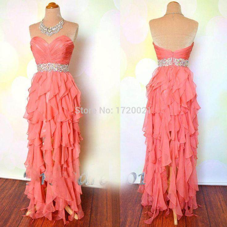 Cheap Evening Dresses Floor Length Ruffle Pleats Beading Crystal Side Slit Chiffon Coral Prom Dresses 2015 Vestidos