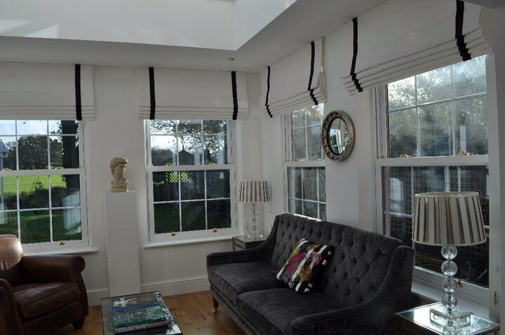 Roman blinds with inset stripes.  Made by Teresa