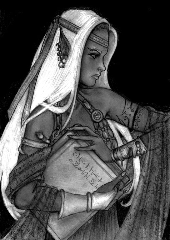 One of the shadow elves in search of wisdom.  (Drow Priestess by melyanna)