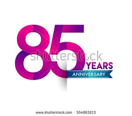 eighty five years anniversary celebration logotype colorfull design with blue ribbon, 85th birthday logo on white background