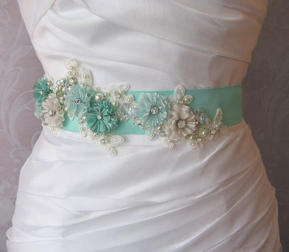 Mint Green Sash Aqua Bridal Sash Spearmint by TheRedMagnolia, $108.00