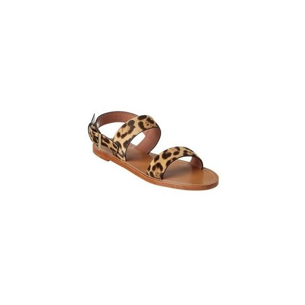 Red Valentino Leopard Ponyskin Flat Sandal (€140) ❤ liked on Polyvore featuring shoes, sandals, leopard print sandals, leopard flat shoes, ankle strap sandals, red valentino sandals and flat shoes