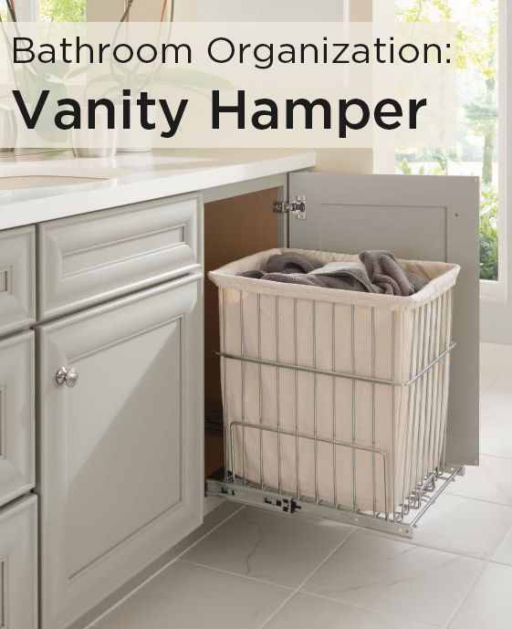 Toss dirty towels and washcloths into this Vanity Hamper by Schrock. Perfect for a bathroom or laundry room, the Vanity Hamper slides away seamlessly. #SchrockBathrooms