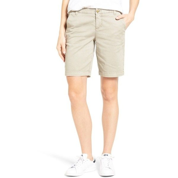 Women's Caslon Twill Shorts (635 ZAR) ❤ liked on Polyvore featuring shorts, petite, tan cobblestone, caslon shorts, slim fit shorts, slim shorts, petite shorts and twill shorts