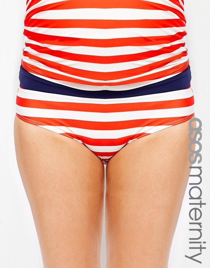 Bikinislip für Schwangere, exklusiv erhältlich in der ASOS Maternity Kollektion aus Stretchmaterial für Bademode niedriger Bund, der unter dem Babybauch sitzt passt in allen Phasen der Schwangerschaft Maschinenwäsche 80% Polyamid, 20% Elastan