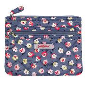 Cotton Ditsy Polyester Quilted Double Zip Purse