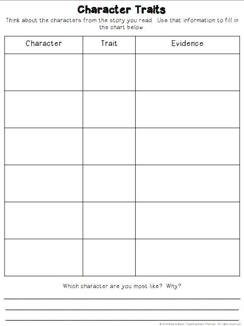 Free Character Traits Graphic Organizer that requires students to cite evidence. Great for third grade or fourth grade students.