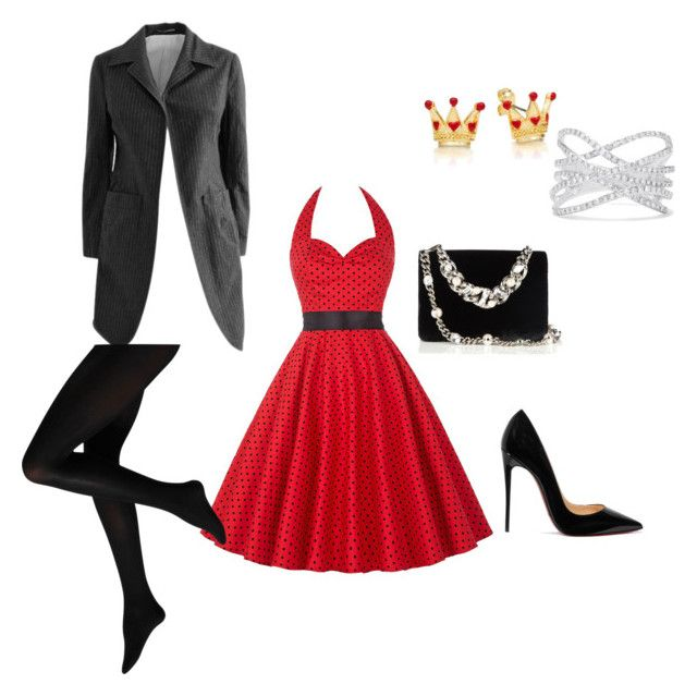 """""""Lady in red"""" by russell-mina on Polyvore featuring WithChic, Y-3, Christian Louboutin, Miu Miu and Effy Jewelry"""
