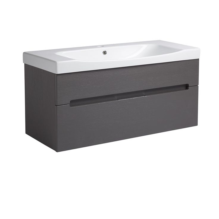 Roper Rhodes Diverge 1000mm Wall Mounted Vanity - Charcoal Elm - Main Image