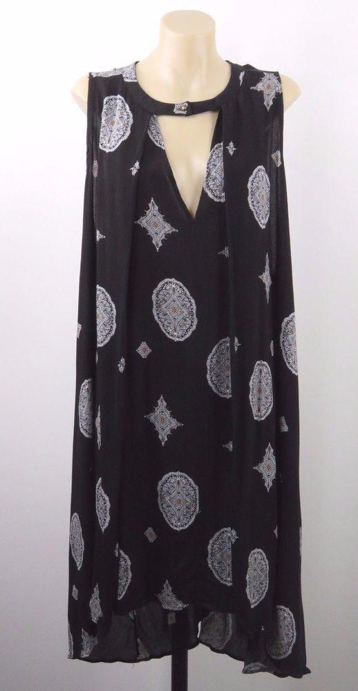 Size M 12 Ladies Black Tunic Top Paisley Casual Beach Boho Chic Gypsy Design #Zaful #Tunic #Casual