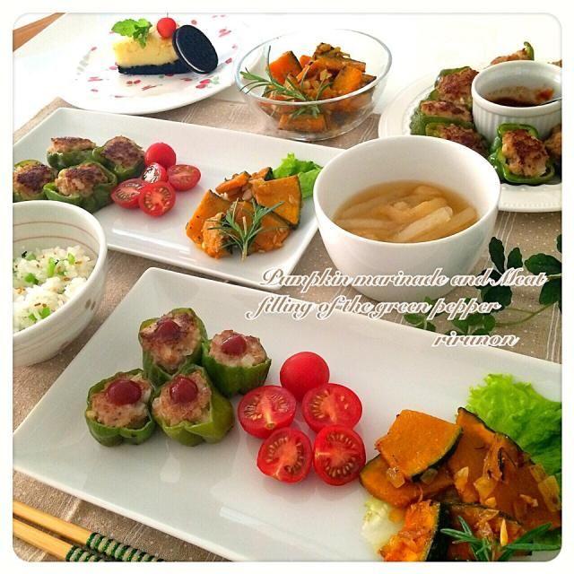 久しぶりにともちゃんのパンプキンマリネ゚+。*(*´∀`*)*。+゚ やっぱり美味しい  大根菜ご飯は大根の葉っぱを茹でて塩で揉んで白胡麻入れたものとご飯を混ぜただけー♬d(d∀゚)(゚∀b)b♬ - 245件のもぐもぐ - Tomoko Itoさんの料理 うちの簡単パンプキンマリネ✳︎ピーマンの肉詰め✳︎大根菜ご飯 by rirunon