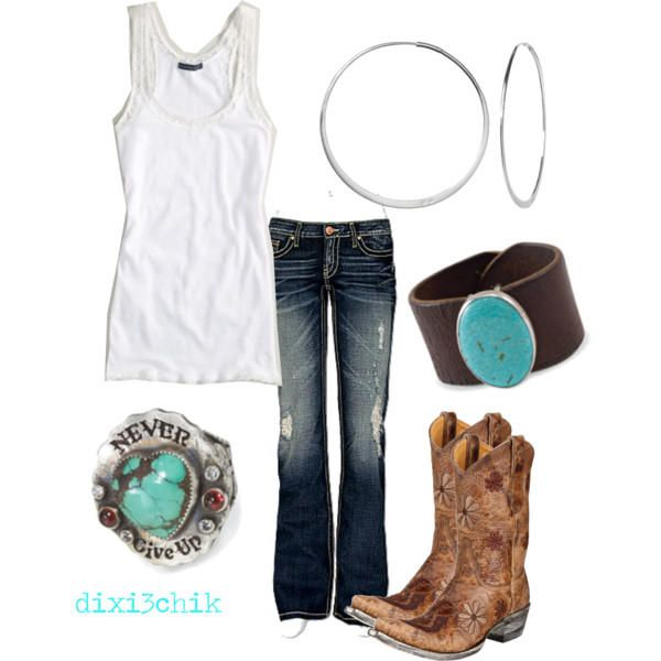 Cowgirl fashion- simple white with turquoise accents - summer