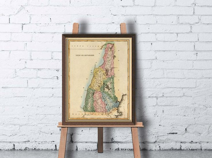 New Hampshire map - Old map of New Hampshire print - State maps reproductions - Archival print by AncientShades on Etsy https://www.etsy.com/listing/172142825/new-hampshire-map-old-map-of-new