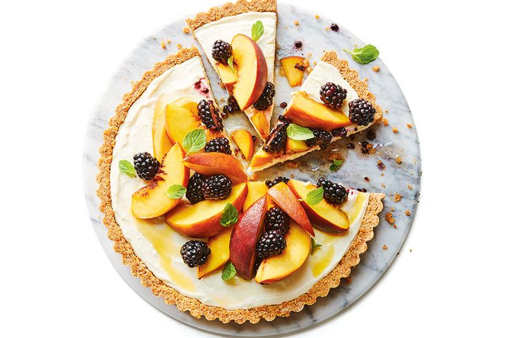 Peach Blackberry Cheesecake Tart—Almonds and peaches are both part of the rose family, which explains why they pair so beautifully together.