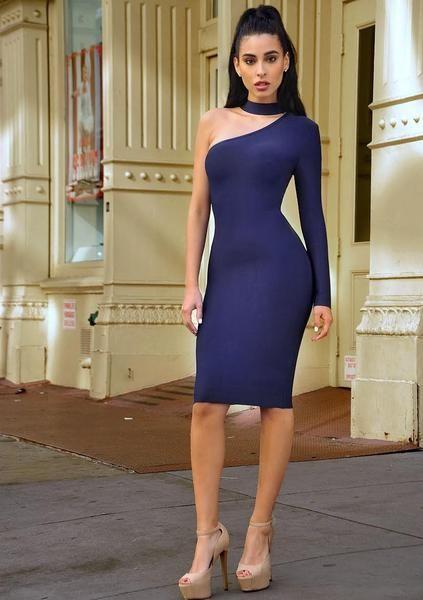 Joanne Asymmetric Cut Out Long Sleeve Bandage Dress