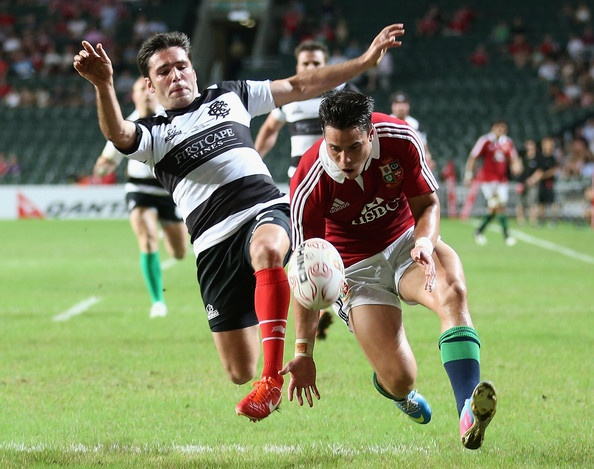 Sean Maitland of the Lions attempts the gather the loose ball as Dimitri Yachvili challenges during the match between the British & Irish Lions and the Barbarians at Hong Kong Stadium on June 1, 2013,  Hong Kong.