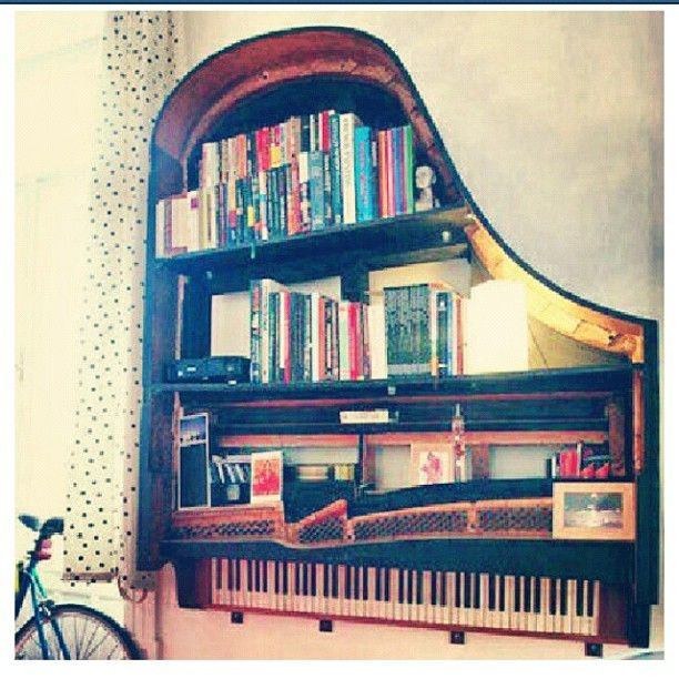 Superior Old Piano Into Bookshelf.Creative Ways To Reuse Your Old Stuff. Itu0027s  Totally Brilliant      When It Could No Longer Function For Music, ... Design Ideas