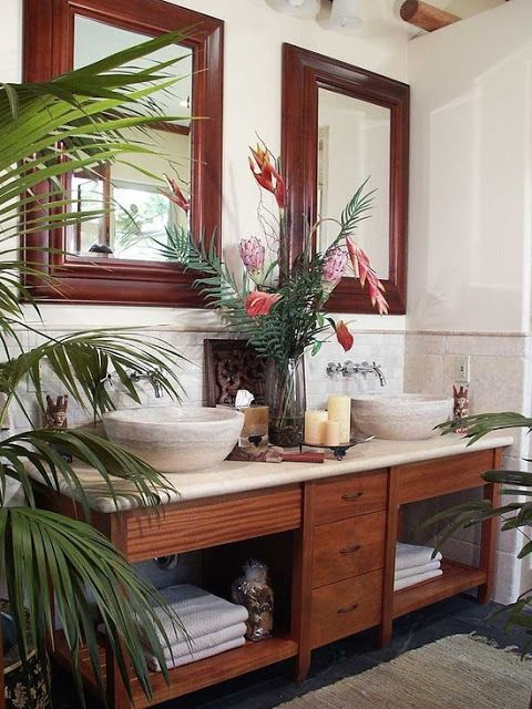 Dark Floor  Light Wall  amp  Wood Frame in Bathroom Color Theme with Tropical Style   Cabinets  Countertop  Open Cabinets  Vessel Sink  amp  Top Mount Sink clean. 1000  ideas about Tropical Bathroom on Pinterest   Tropical home