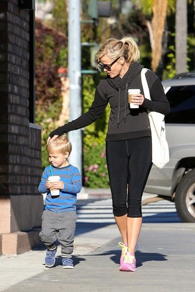 Reese Witherspoon and her son, Tennessee James Toth are seen in Santa Monica getting coffee and hot chocolate at Starbucks on January 23, 2015.