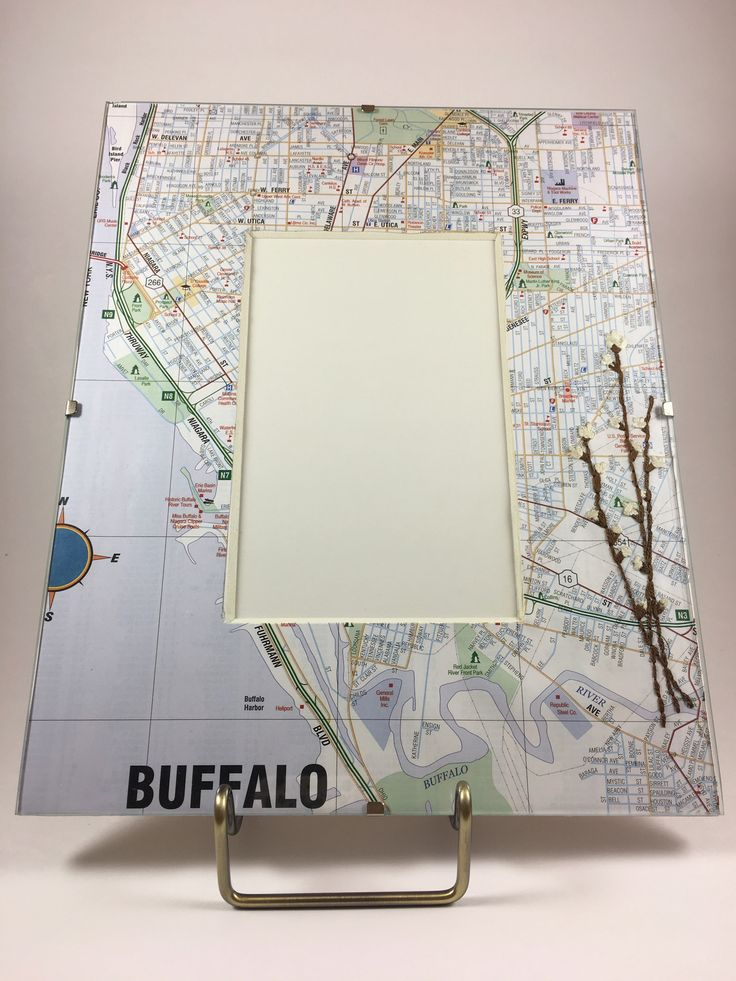 Hand-stitched Pussywillow Buffalo Map Frame