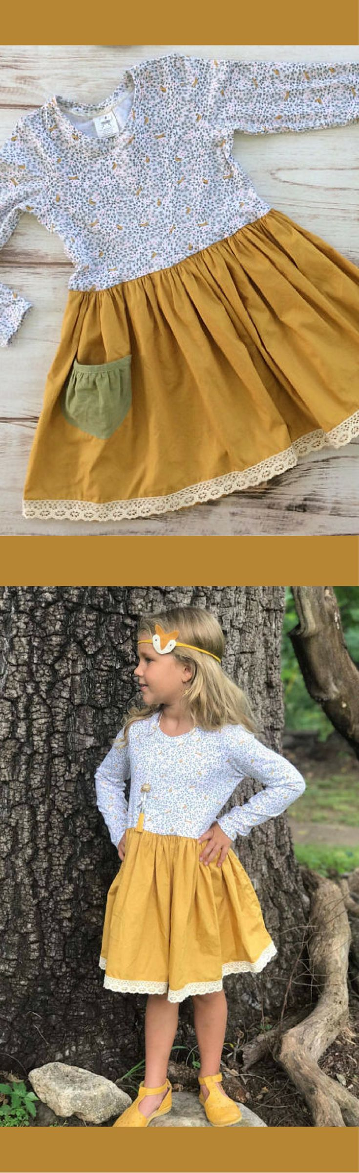 Girls twirl dress - girls dress for fall - girls dress with foxes - toddler girls clothes for fall - girls fall dress - girls fall outfit, family picture dress, Thanksgiving dress, Thanksgiving outfit girl #ad #affiliatelink