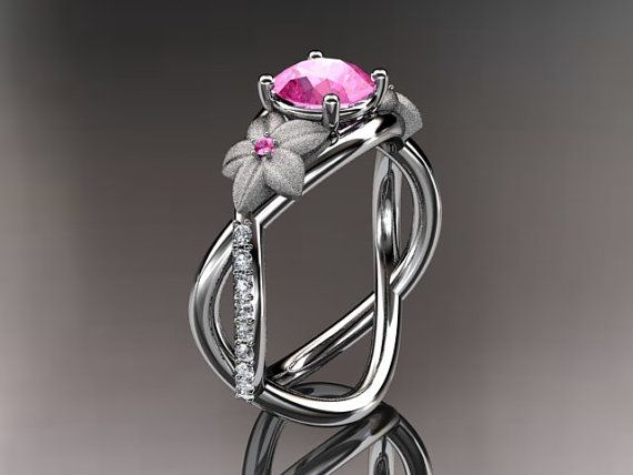14kt White Gold Diamond Leaf And Vine Birthstone Ring Adlr90 Pink Tourmaline October S Nature Inspired Jewelry