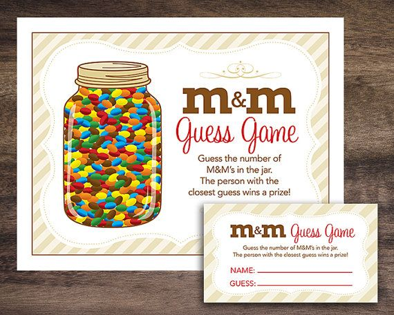 instant download m amp m guessing game baby shower candy