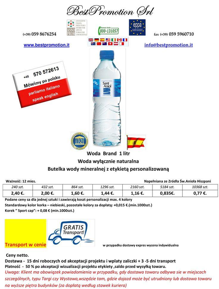 Woda Brand 1 litr Woda wyłącznie naturalna | Woda Reklamowa