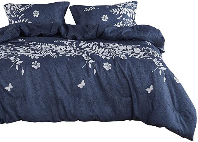 Amazon Com Wake In Cloud Navy Blue Duvet Cover Set Gray Grey Floral Flowers Tree Leaves Blue Comforter Sets Navy Blue Comforter Sets Navy Blue Duvet Cover