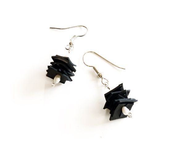 Funky innertube stacked square earrings with white pearls.  Recycled bicycle tire jewelry by livelyleafdesigns    $21 on Etsy
