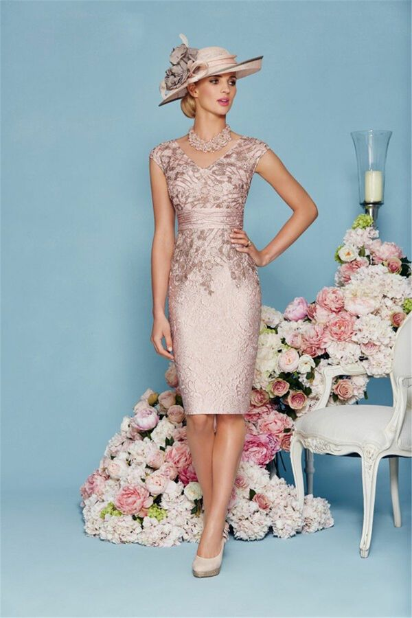 Navy Pink Mother Of The Bride Dresses 2 Pcs Outfit Lace V Neck