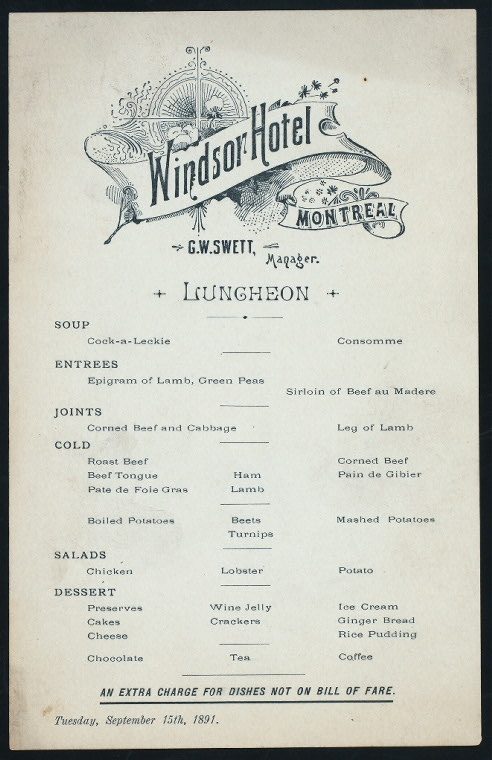 LUNCHEON [held by] THE WINDSOR [at] MONTREAL [CANADA?] (HOTEL) (1891)