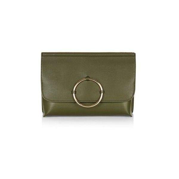 TopShop Circle Trim Clutch (£22) ❤ liked on Polyvore featuring bags, handbags, clutches, khaki, green purse, circle purse, topshop, topshop handbags and green handbag