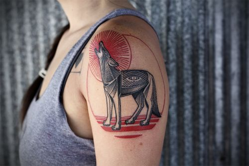 native american style coyote tattoo by david hale