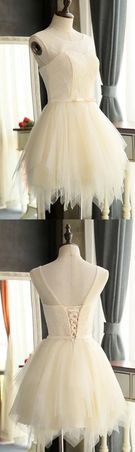 Round Party Dresses, White Party Dresses,Homecoming Dress Chic Lace-up Scoop Tulle Short Prom Dress Party Dress