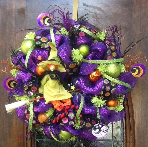 Happy Halloween Witch Wreath Surrounded With Sparkle