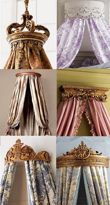 My fascination with antique doll crowns trickles down  to bed crowns as well.  I love a draped bed and using a crown is a fun and practical ...