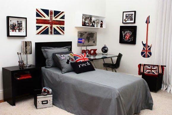 Bom dia!! Vejam o post Quarto de Moço com blog Em Casa de Maria -> http://www.blogsdecor.com/emcasademaria/quarto-tematico-de-moco/ #decor #decoracion #decoracao #quarto #bedroom #menino #adolescente #garoto #rock