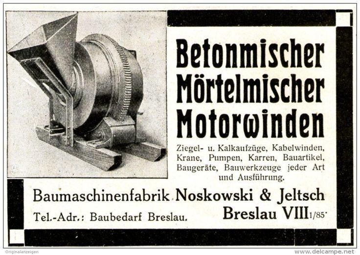 Original-Werbung/ Anzeige 1913 - BETONMISCHER / NOSKOWSKI & JELTSCH - BRESLAU - ca. 90 x 60 mm