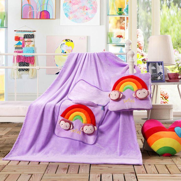 Multifunkčné deky 3v1 fialovej farby pre deti s dúhovými plyšákmi