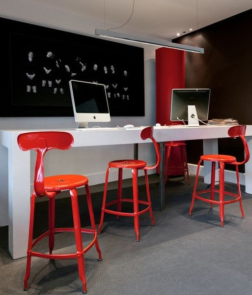 Nicolle Bar Stool - Red Carmine Glossy #barstool #steel #customised #colours #industrialstyle #madeinfrance #interiordesign