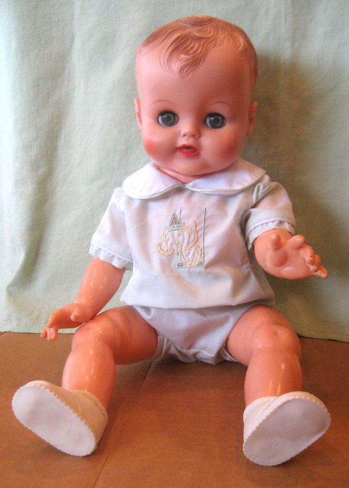 VINTAGE 1953 AMERICAN CHARACTER BABY BOY 19 INCH VINYL DOLL #AmericanCharacter  My Jimmy Doll.. BETD