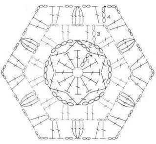 Шестиугольные мотивы крючком со схемами фото 913
