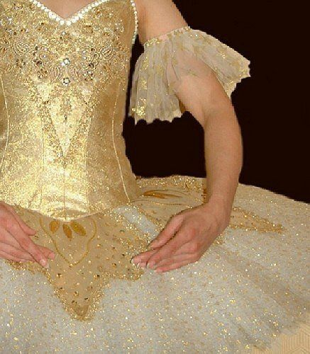 Gold and White professional quality Cinderella ballet tutu designed for the Manx Ballet Company