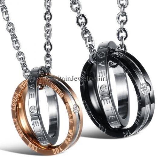 Interlocking Ring His And Hers Matching Promise Eternal Love Couple Necklace Pendant & Hearts Stainless Steel Cubic Zirconia