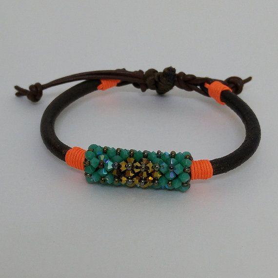 Leather Bracelet Beaded Bracelet Beaded Crochet by NazoDesign