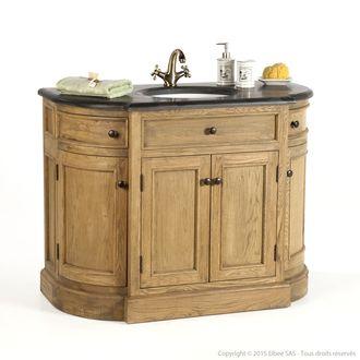 Meuble vasque en chêne avec portes et robinet Longueur 112cm LAGON