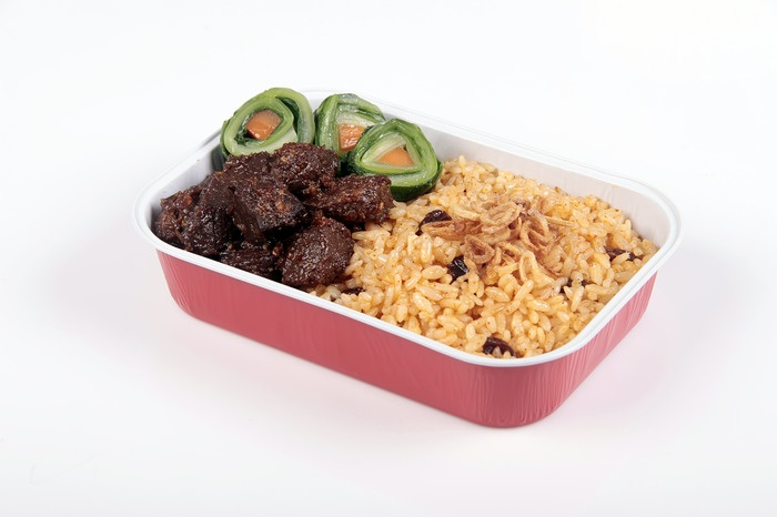 The new menu from Air Asia, Nasi Minyak Palembang by chef Farah Quin. Photo courtesy of Air Asia