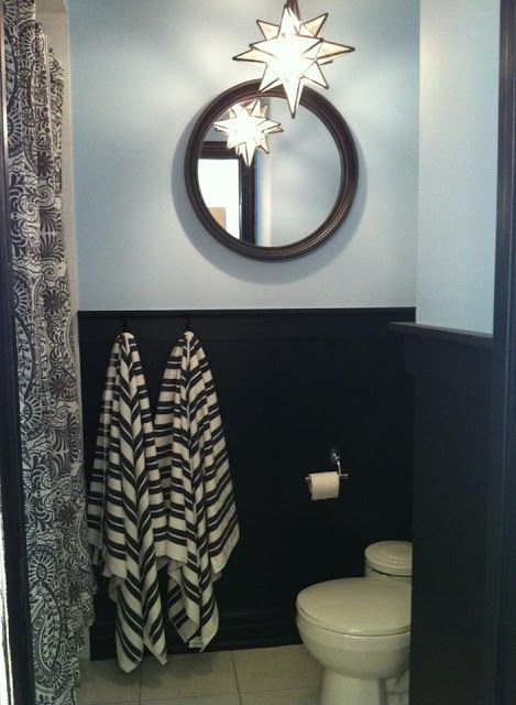 13 Best Images About Black Wainscot In Bathroom On