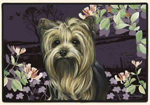 Spring Time Yorkies Doormat Fiddlers Elbow by Fiddler's Elbow. $21.99. Features permanently dyed, vivid, fade-resistant colors. slide free coating.. Superior stain resistance makes clean up quick and easy - spray with windex and rinse off.. Constructed of decorative polyester face, high density rubber back, durable polypropylene binding. Animal lovers, these mats are perfect for you!. Perfect for use as a decorative accent mat anywhere throughout your home.. 100% Pol...